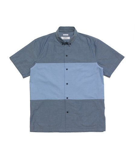 Freemans Sporting Club Color Block Short Sleeve Pocket Shirt - Medium Chambray