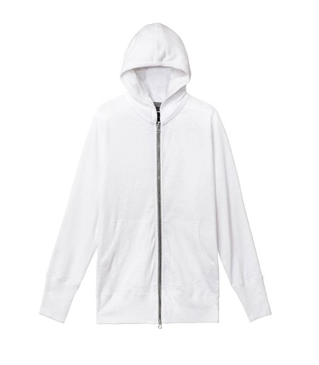 Wings+Horns 1x1 Slub Zip Hoody - White