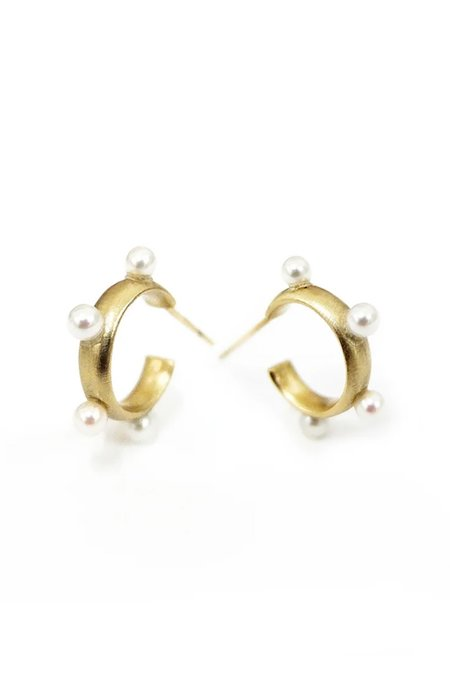 n + a Satin Finish Hoop Earrings - Akoya Pearl