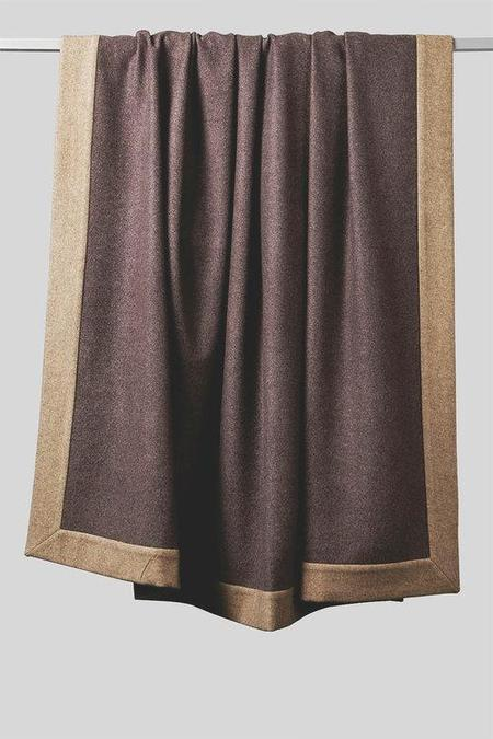 Oyuna Etra Heavyweight Timeless Luxury Cashmere King Size Bedspread - Aubergine Taupe/Taupe