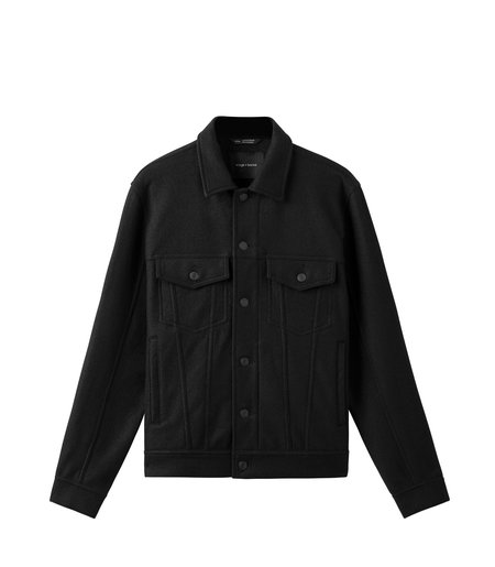 Wings+Horns Compressed Wool Trucker Jacket - black