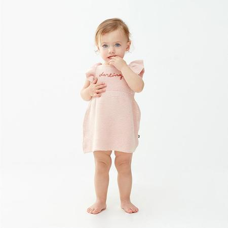 KIDS Oeuf NYC Dress With Ruffled Sleeves - Light Pink