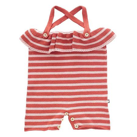 KIDS Oeuf NYC Ruffle Knitted Romper - Rust Pink/Light Pink Stripes