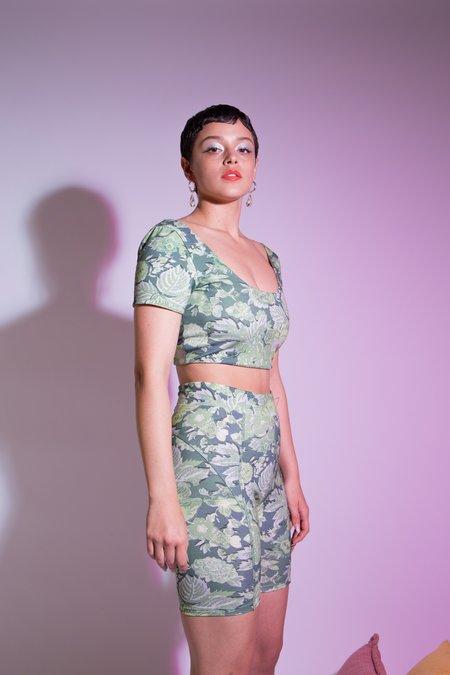 Suzanne Rae Floral Biker Shorts - floral green