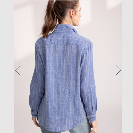 Frank & Eileen Eileen Stripe Italian Linen Shirt - Blue/White