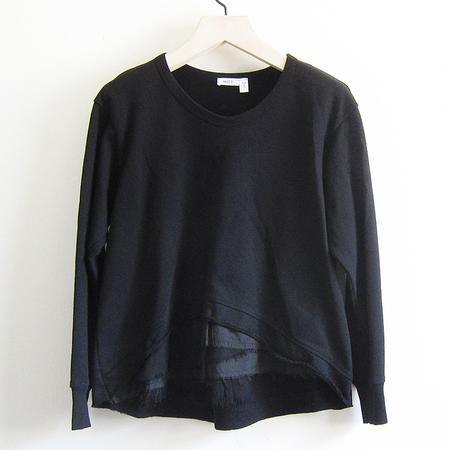 Wilt Hi-lo Sweatshirt with Mixed Elements - Black