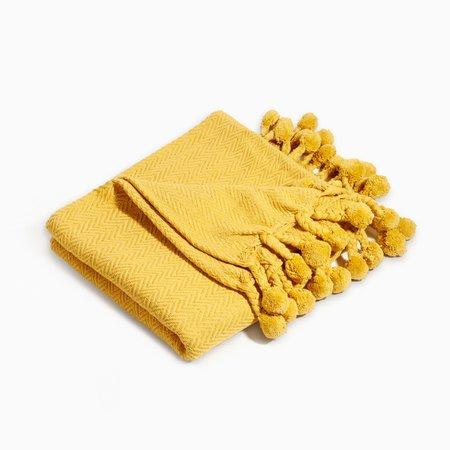 Poketo Pom Pom Blanket - yellow