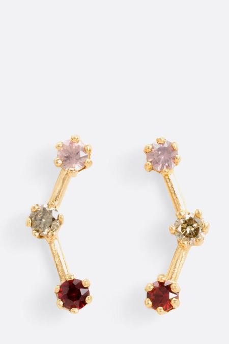 Satomi Kawakita Red Tone Triple Stone Stud Earrings