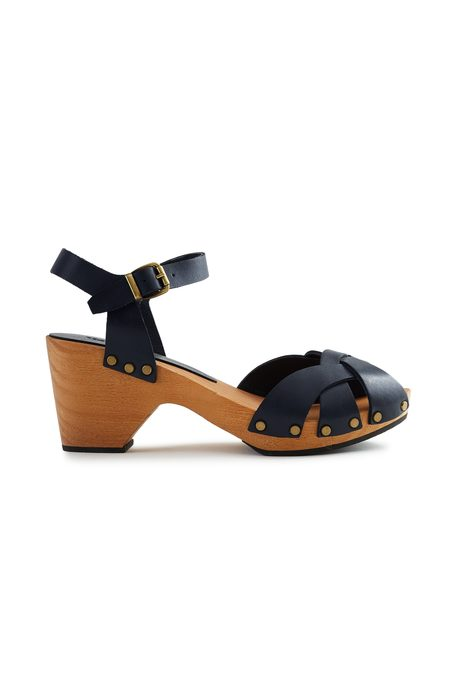 Lisa B. huarache leather clogs - dark navy