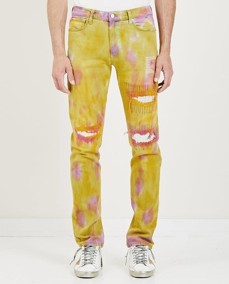 SYNC DENIM OVER DYE DENIM - YELLOW/PINK