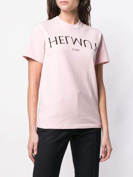 UNISEX Helmut Lang Logo Hack Little Tee - Rose Quartz