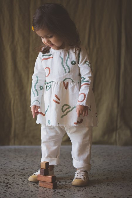 KIDS Feather Drum Eliza Baby Smock Top - Abstract
