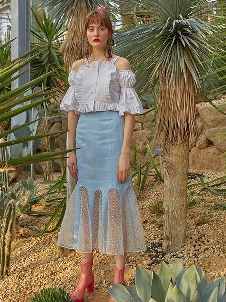 Dew E Dew E See-Through Mermaid Skirt - Blue