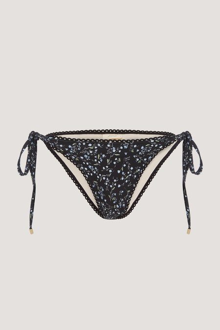 PEONY Grasslands String Bikini Bottom - BLACK