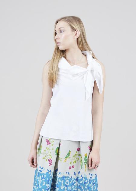 Aequamente Sleeveless Tie Top - white
