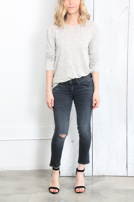 T By Alexander Wang CLASSIC SILK LINEN JERSEY LONG SLEEVE TEE IN HEATHER GREY