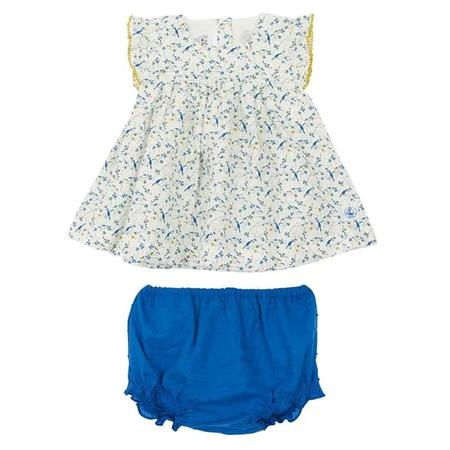 5bfc40aa6 KIDS Petit Bateau Two Piece Set Short Sleeved Dress With Bloomers - White  With Blue Bird