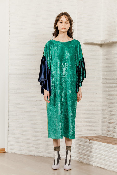 Kate Towers velvet mix oyster dress