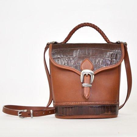 VINTAGE Found Croc Leather Crossbody Bag - BROWN