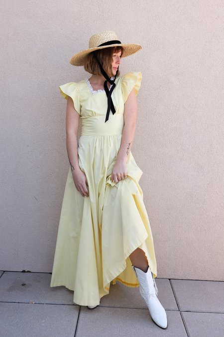 Vintage Prairie Maxi Dress - yellow