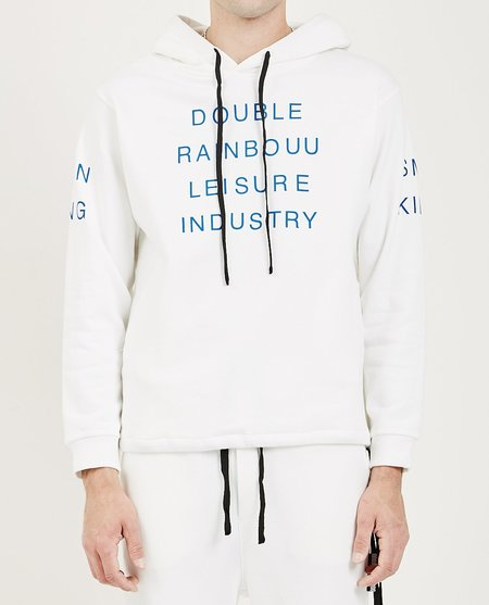 Double Rainbouu COUCH SURF HOODIE - SMOKING DRINKING WHITE