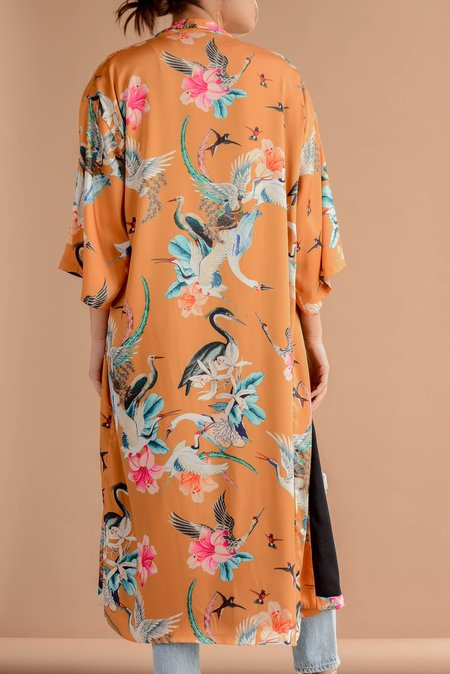 Sway and Cake Long Kumi Kimono Robe - Caramel Crane