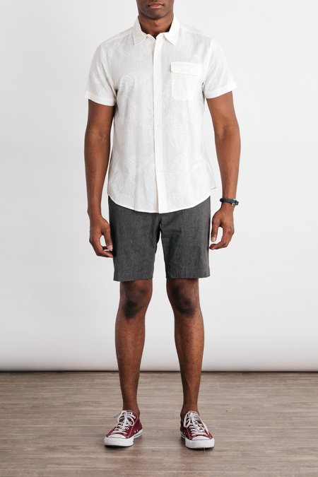 Bridge & Burn Marten Short Sleeve Button Up - Ivory Frond Print