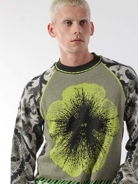 unisex Bernhard Willhelm Botanical Sweater - Green/grey