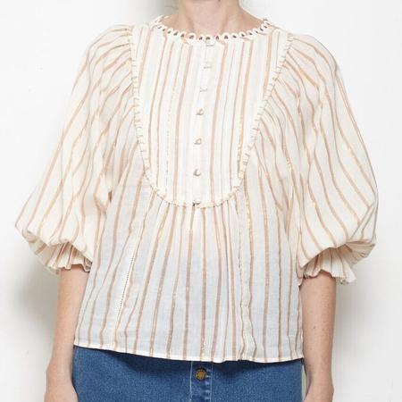 Apiece Apart Cala Bib Top - Cream Stripe