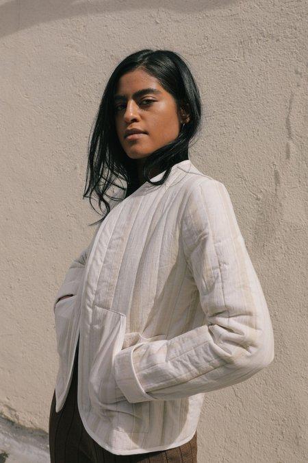 Kordal Reversible Quilted Jacket - Cream Stripe