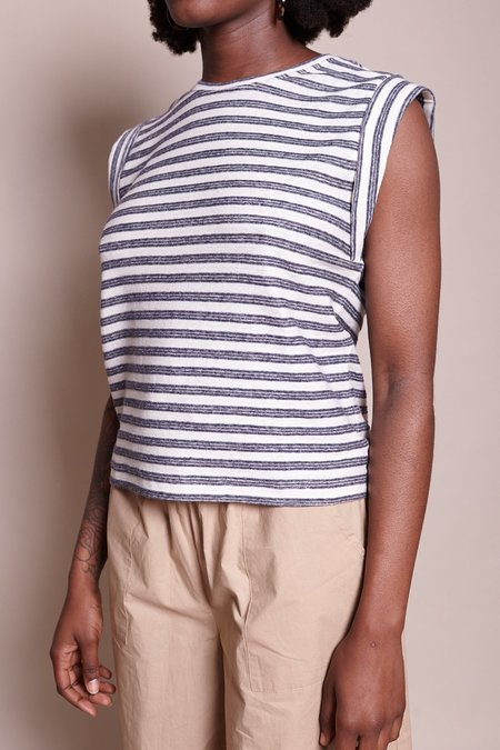 Steven Alan Sleeveless Boxy Stripe Tee - White/Blue
