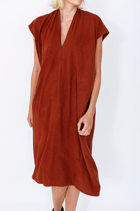 Miranda Bennett Everyday Dress, Oversized, Silk Noil in Rust
