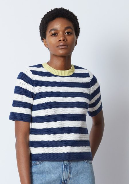 Staud Esther Crochet Knit Tee - STRIPE