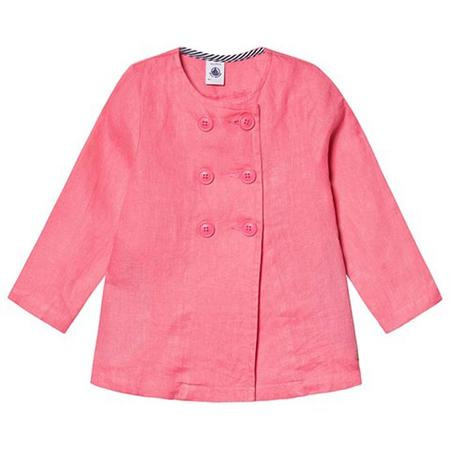 KIDS Petit Bateau Double Breasted Linen Jacket - Cupcake Pink