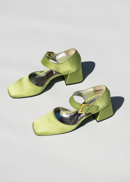 Suzanne Rae Maryjane With Silver Bow in Green