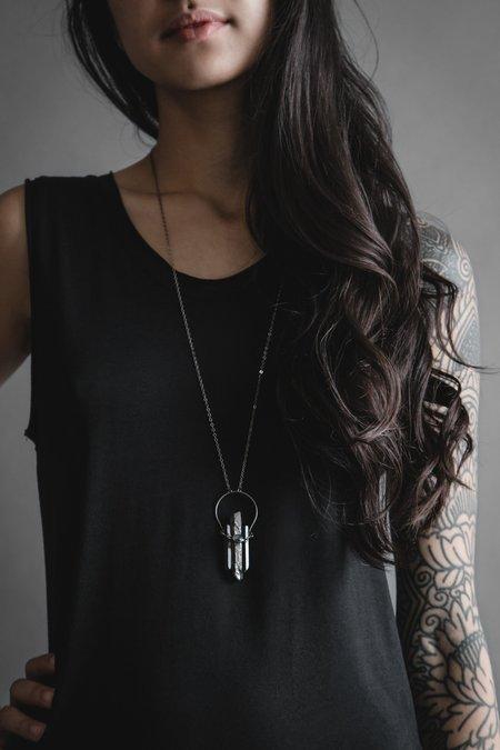 Iron Oxide Black Crystal Crescent Gemstone Necklace - Labradorite