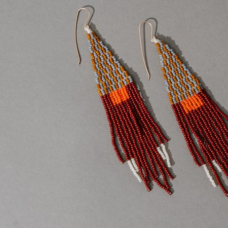 Lu in the Frey Triangle with Beaded Fringe Earrings