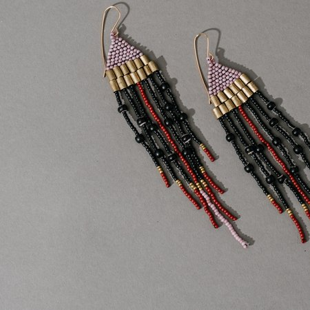 Lu in the Frey Woven Top Earrings with Brass Beads and Fringe
