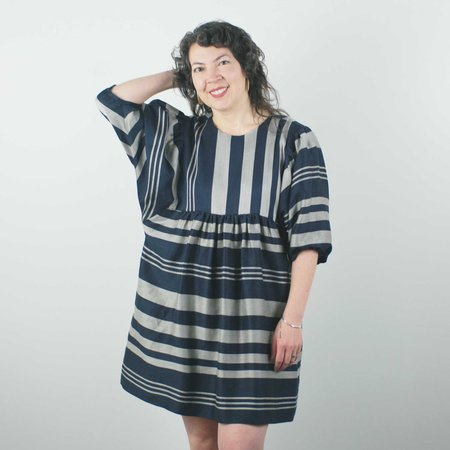 Jennifer Glasgow Loktak Dress - Navy Stripe