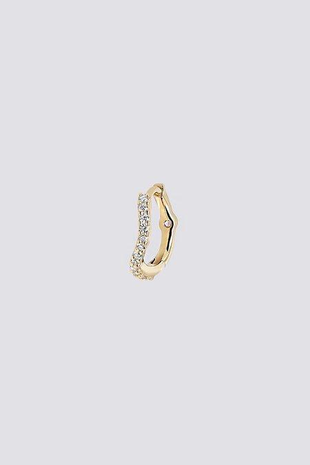 Maria Black Wave Diamond Huggie - 14k yellow gold/0.06