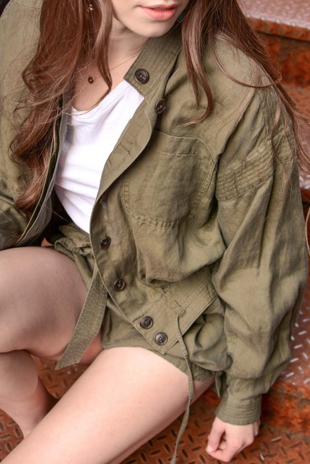 FRAME Denim Double Pocket Jacket - Army Green