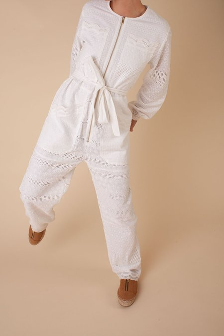 L.F.Markey Finlay Broderie Anglais Boilersuit - White