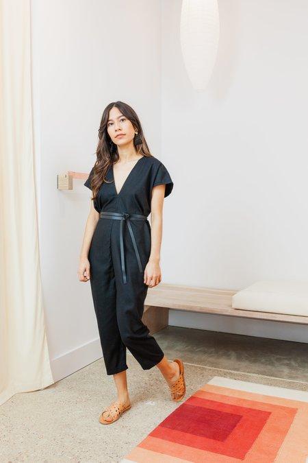 Miranda Bennett Silk Noil Petite Everyday Jumpsuit - Black