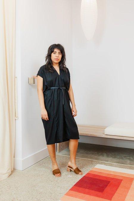 Miranda Bennett Silk Noil Petite Knot Dress - Black