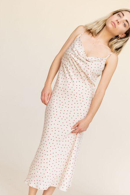 BETWEEN TEN Eleanor Cowl Dress - Ivory Polka