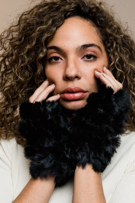 Jocelyn Fur Mandy Mitten Dyed Plucked Fingerless Mittens - Black