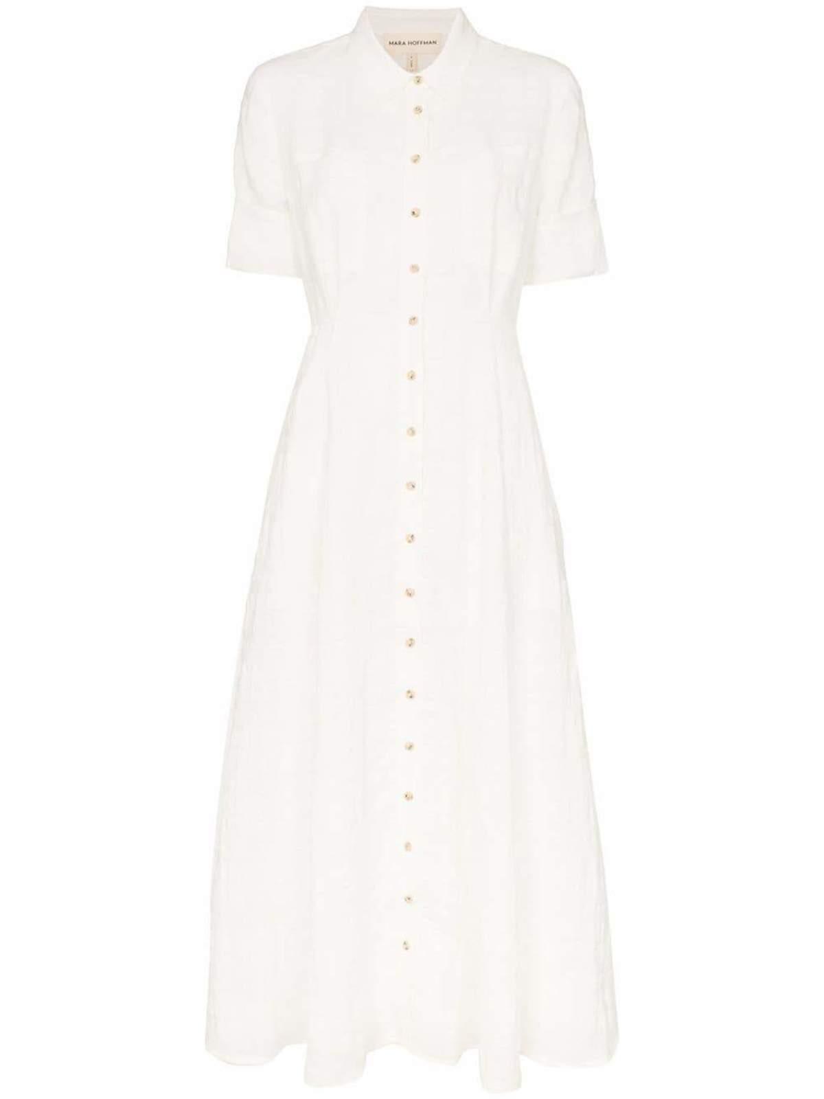 98a5fc68bc74 MARA HOFFMAN Lorelei Short Sleeve Button Front Dress - WHITE ...