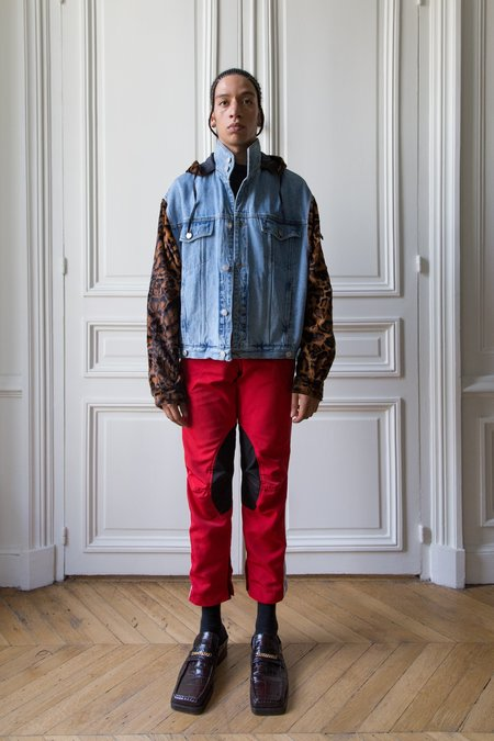Martine Rose Leopard Bomber Sleeve Denim Hoodie Jacket