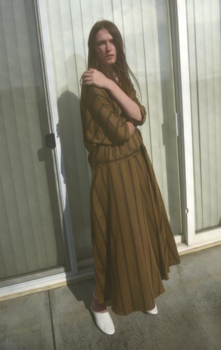 Kamperett Tux Dress - Olive/Midnight Navy Stripe