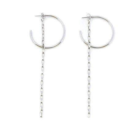 Joomi Lim Hoop Earrings With Detachable Chain - Rhodium